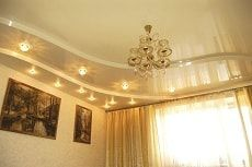 Натяжные потолки двухуровневые для зала фото