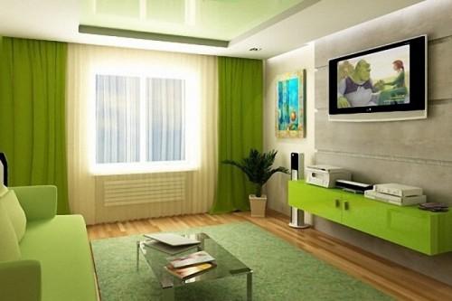 Дизайн кухни шторы с зеленой мебелью