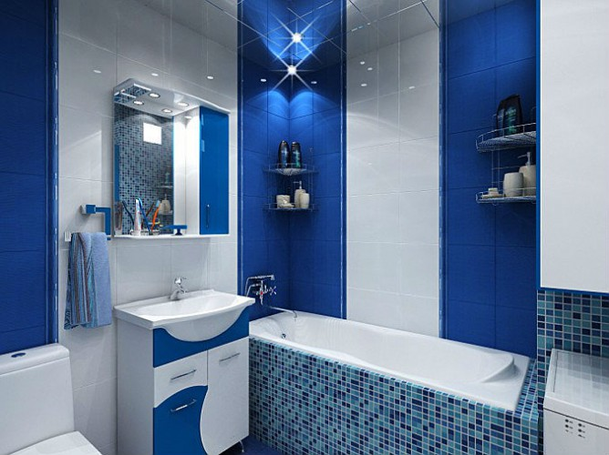 Дизайн ванной комнаты синего цвета