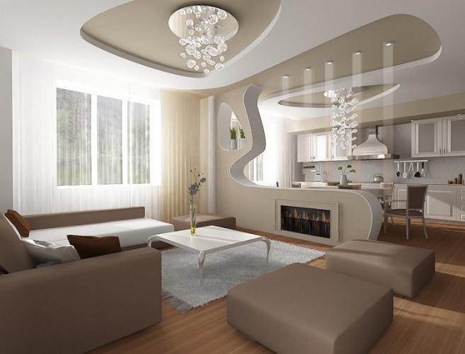 Дизайн гостиной совмещенной