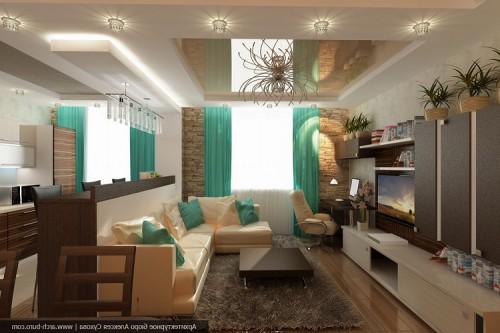 Совмещенная кухня гостиная интерьер