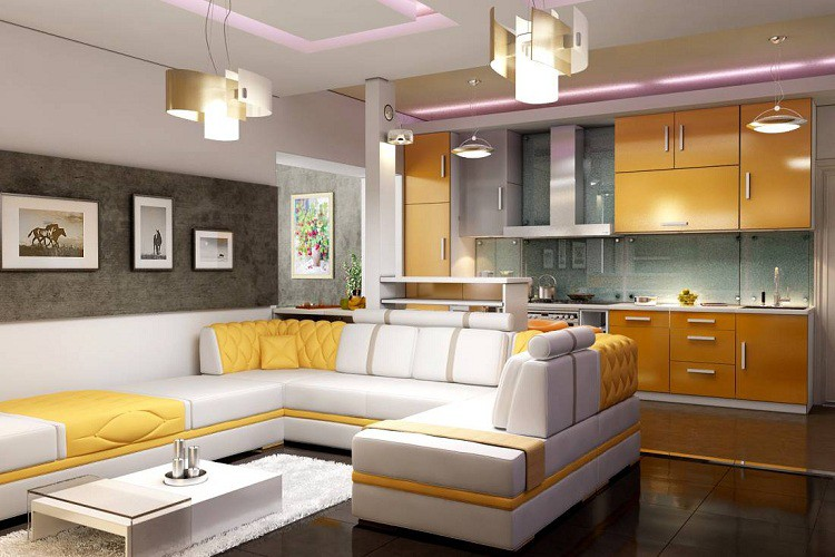 Дизайн гостиной объединенной с кухней