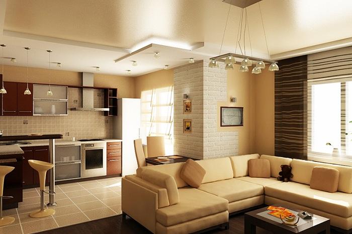 Дизайн зала в кухне гостиной