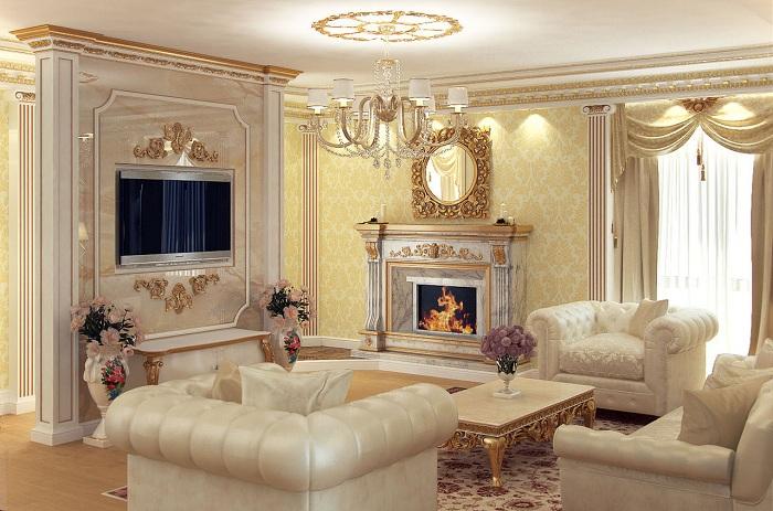 Интерьер гостиной отделанной лепниной фото