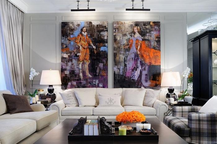 Картины в интерьере кухни-гостиной фото
