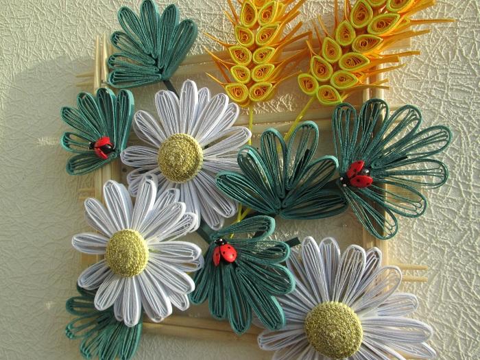 Квиллинг цветочное панно фото