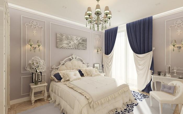 Молдинги на стенах в интерьере спальни фото