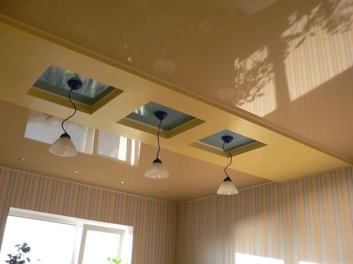 Натяжные глянцевые потолки фото