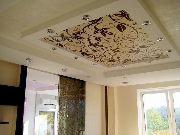 Натяжной тканевый потолок фото