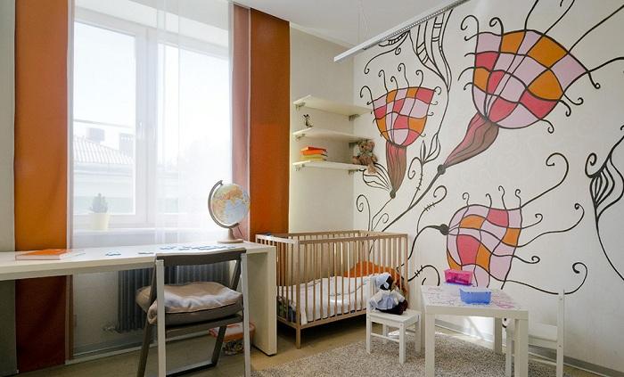 Рисунки на стенах в детской комнате фото