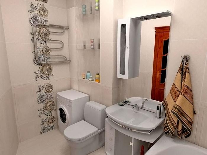 Дизайн ванны совмещенной с туалетом 2 кв.м