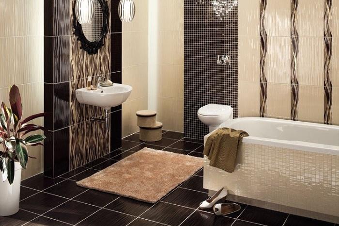 Схема модной раскладки плитки в ванной фото