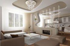 Дизайн гостиной совмещенной с кухней фото идеи