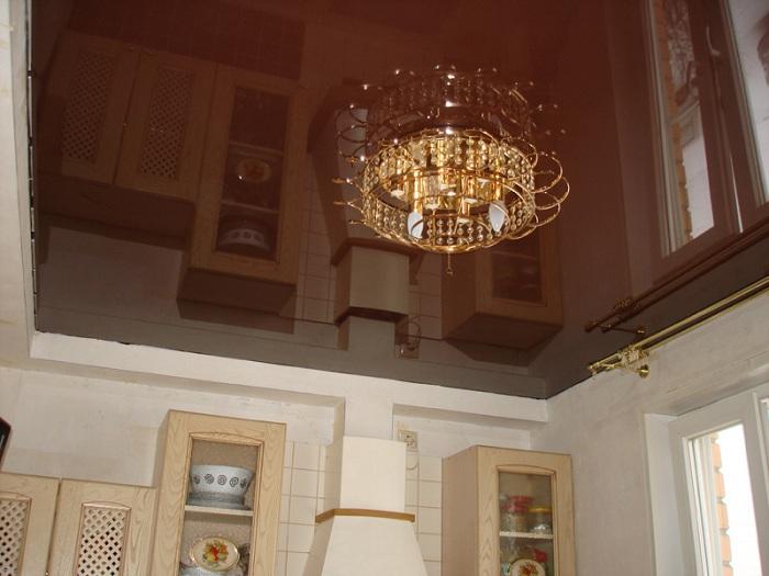 Натяжной потолок глянцевый фото